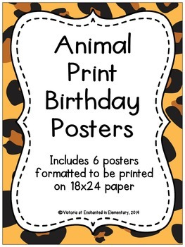 Animal Print Birthday Posters