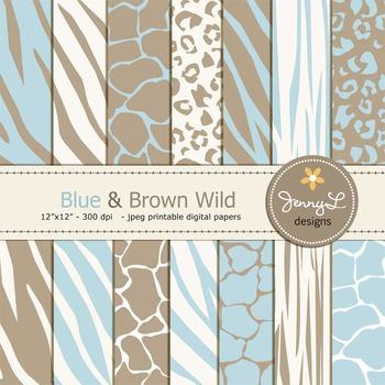 Animal Print: Blue and Brown Wild Safari Digital Papers