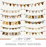 Animal Print Bunting Banner Banners clip art - safari clipart