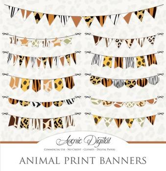 Animal Print Bunting Banner Banners clip art - safari clipart