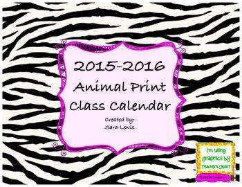 Animal Print Calendar 2015-2016
