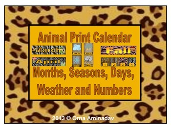 Animal Print Calendar, Months, Seasons, Days and Numbers