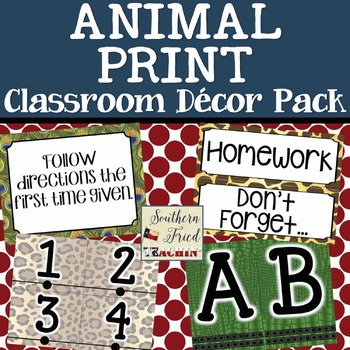 Animal Print Classroom Decor Pack