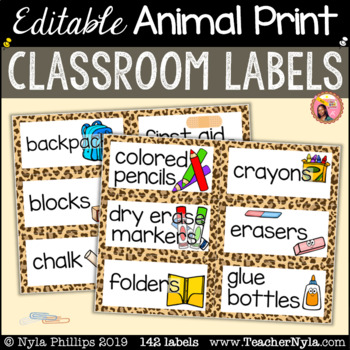 Animal Print Classroom Labels with Pictures - Editable