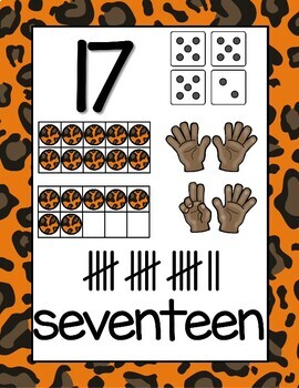Animal Print Classroom Posters Numbers from 0 - 20