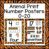 Animal Print Classroom Decor: Number Posters