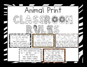 Animal Print Classroom Rules