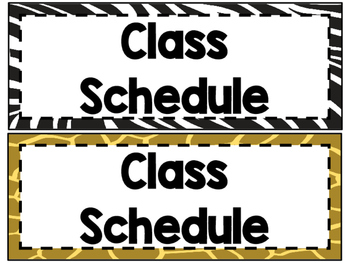 Animal Print Classroom Schedule Cards FREEBIE