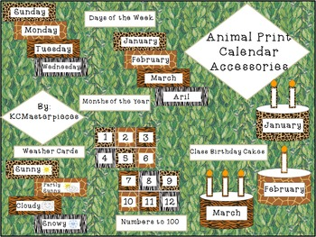 Animal Print Complete Calendar Accessories