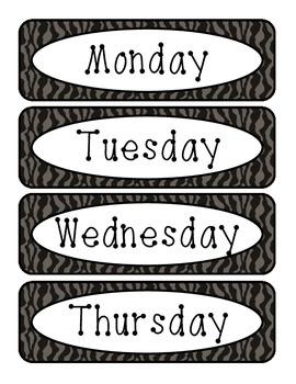 Animal Print - Days of the Week