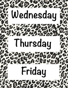 Animal Print Days of the Week 2