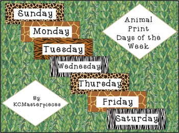 Animal Print Days of the Week Signs