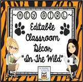 Classroom Decor Animal Print Editable