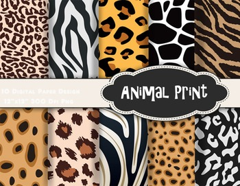 Animal Print Digital Paper Zebra Leopard Paper Animal Pattern Paper Pack