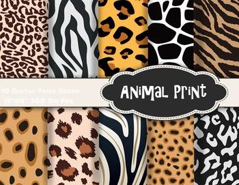 Animal Print Digital Paper Zebra Leopard Paper Animal Pattern Paper Pack