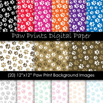 Animal Print Digital Papers - Paw Print Backgrounds