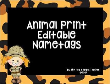 Animal Print Editable Name Tags
