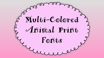 Animal Print Font - Multi-colored - Personal and Commercial Use