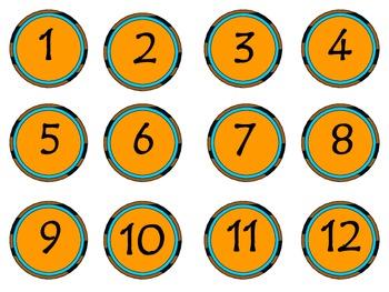 Animal Print Giraffe Flags and Classroom Numbers Blue & Orange