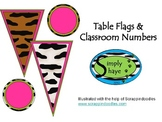 Animal Print Giraffe Flags and Classroom Numbers Pink & Green