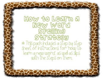 Animal Print How to Learn to Spell a Word Poster Pack