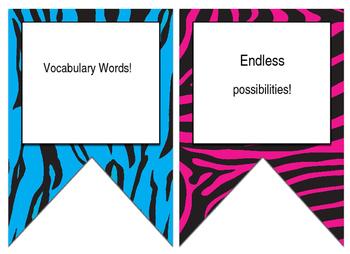 Animal Print Jungle Safari themed EDITABLE bulletin board banner