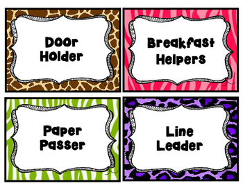 Animal Print Jungle Theme Job Cards Clip Chart' Poster