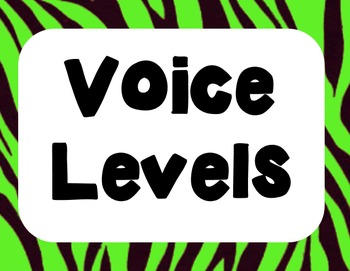 Animal Print Jungle Voice Levels  0-4 Posters Clip Chart