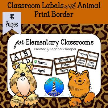 Animal Print Decor Labels for the Elementary Classroom
