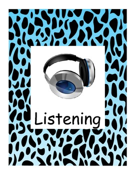 Animal Print Learning Center Signs Blue