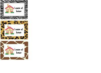 Animal Print Leave at Home folder label