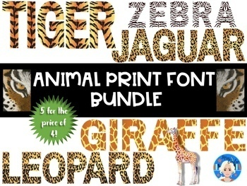 Animal Print Letters and Numbers Font Clip Art BUNDLE