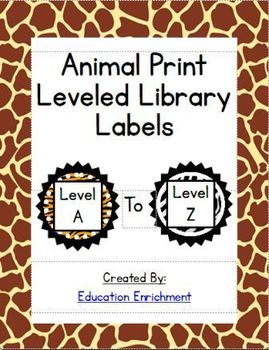 Animal Print Leveled Library Sticker Labels: A through Z