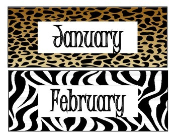 Animal Print Month Labels in English and in Spanish
