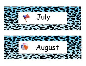 Animal Print Month Headings Blue