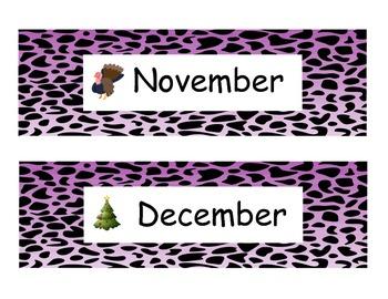 Animal Print Month Headings purple
