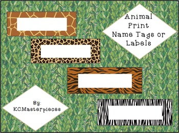 Animal Print Name Tags or Labels