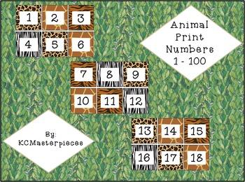 Animal Print Numbers 1-100