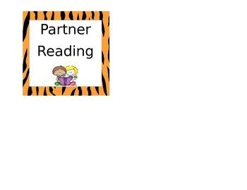 Animal Print Partner Reading Labels