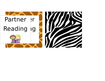 Animal Print Partner Reading Labels