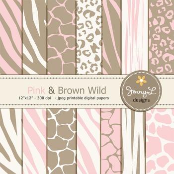 Animal Print: Pink and Brown Wild Safari Digital Papers