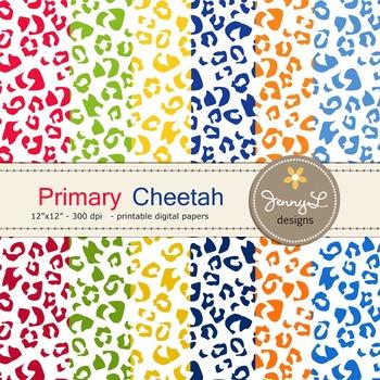 Animal Print: Primary Colors Cheetah Patterned Digital Papers