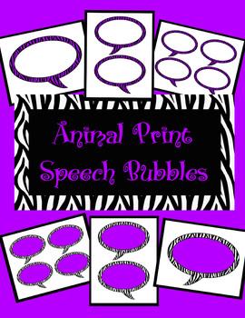 Animal Print Speech Bubbles *Purple Zebra Theme