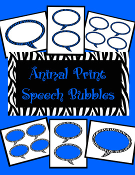 Animal Print Speech Bubbles *Royal Blue Zebra Theme