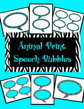 Animal Print Speech Bubbles *Turquoise Zebra Theme