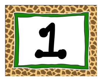Animal Print Table Numbers