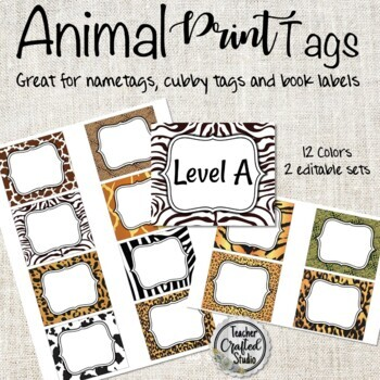 Animal Print Cubby Tags Name And Coat Hooks