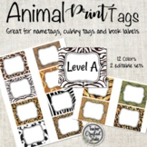 Animal Print Editable Cubby Tags   Name Tags   Book Bin Labels