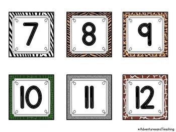 Animal Print Themed Calendar Numbers
