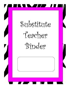 Animal Print Themed Substitue Teacher Binder